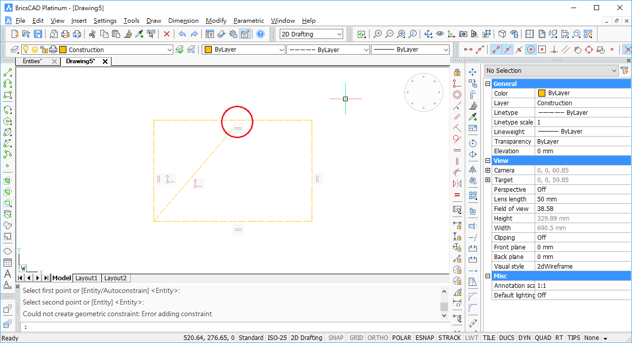 Cannot add constraint for mid-point of rectangle polyline